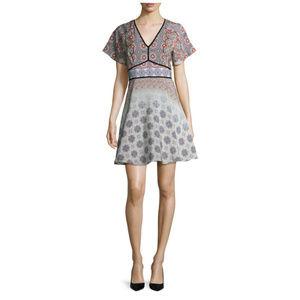 Shoshanna Silk Print Fit And Flare A-Line Dress 4